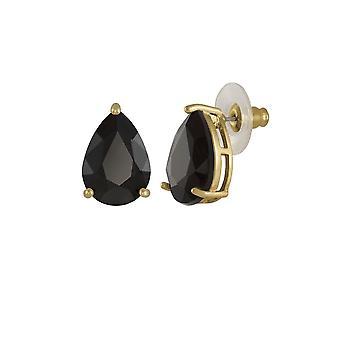 Eternal Collection Seduction Teardrop Jet Black Crystal Gold Tone Stud Pierced Earrings