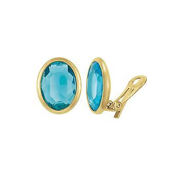 Eeuwige collectie kostbare Turquoise Crystal ovaal goud Toon Stud Clip op oorbellen