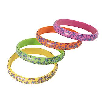 Bristol Novelty Hippie Floral Bracelets (Pack Of 4)