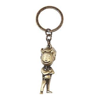 Fallout Keyring Keychain Golden 3D Vault Boy new Official Gold Metal