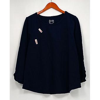Denim & Co. Top Round Neckline w/ Bracelet Sleeves Blue A300741