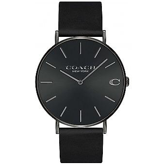 Coach | Mens | Charles | Black Leather Strap | Black Dial | 14602434 Watch