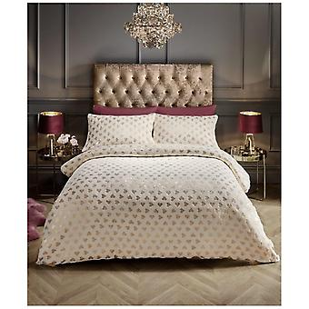 Valentine's Heart Foil Velvet Touch Fleece Duvet Quilt Cover Warm Bedding Set