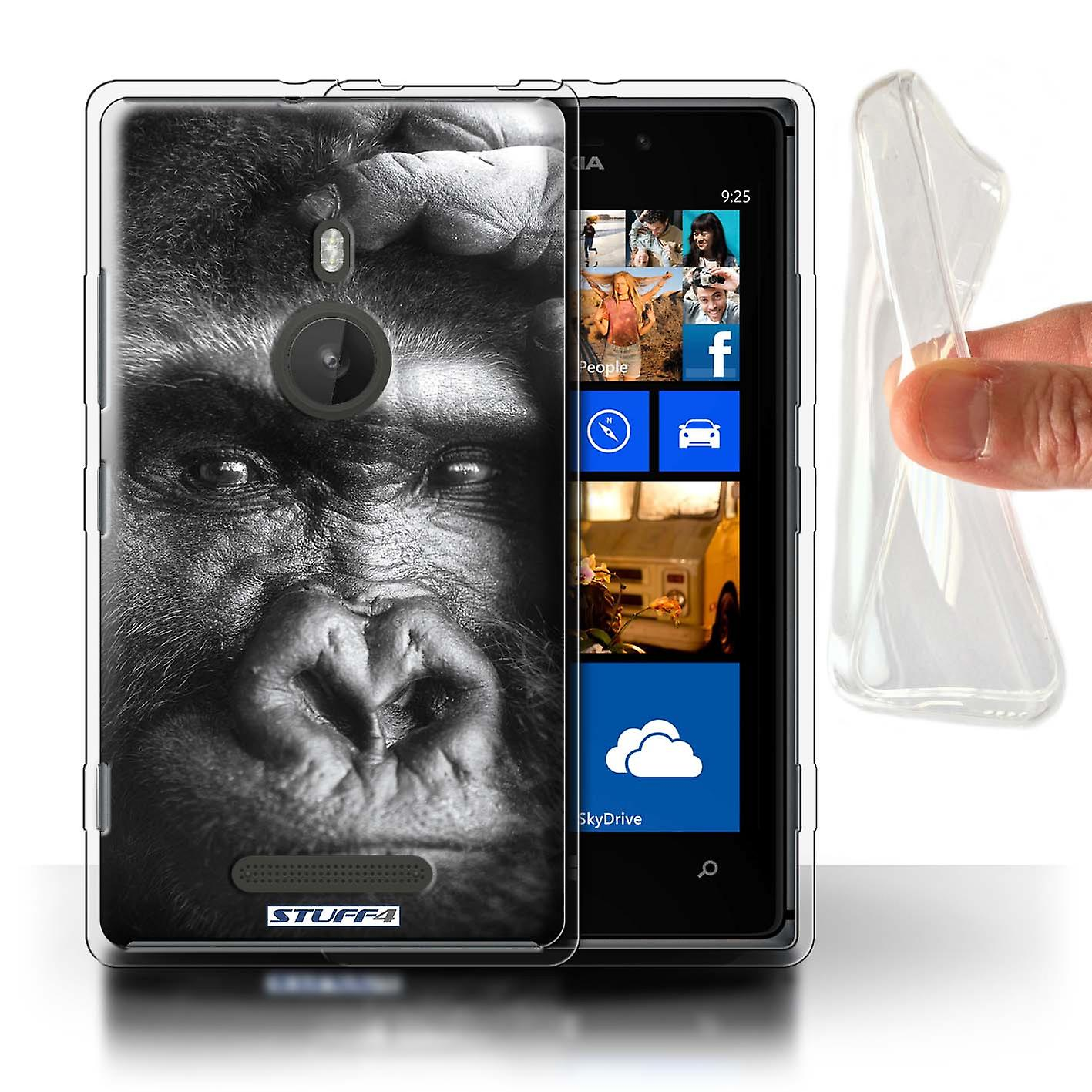 STUFF4 Gel TPU Case/Cover for Nokia Lumia 925/Gorilla/Monkey/Wildlife Animals