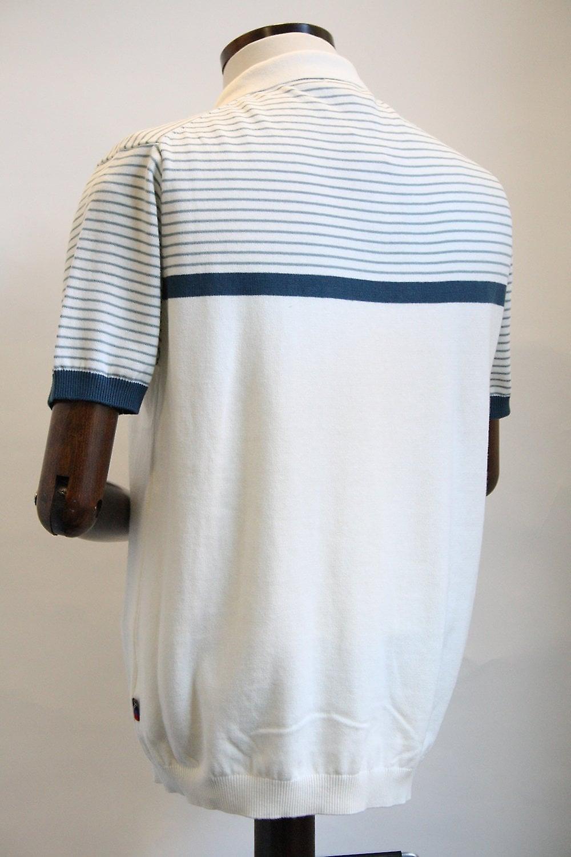 Merc London Blake Vintage White Knitted Polo Shirt