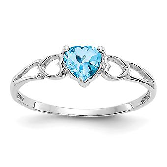 10k White Gold Polished Blue Topaz Ring Size 6 Jewelry Gifts for Women