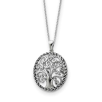 925 Sterling Silver Gift Boxed Spring Ring Rhodium vergulde afwerking CZ Kubieke Zirconia Gesimuleerde Diamond Ketting 18 Inch Je
