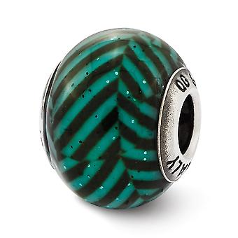 925 Sterling Silver Polished finish Reflections Italian Teal Stripes With Glitter Glass Bead Charm Pendant Necklace Jewe
