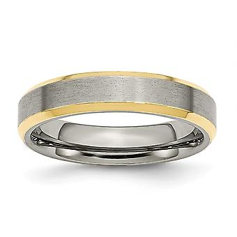Titanium 5mm Gold Flashed Engravable Yellow IP plated Beveled Edge Brushed and Polished Band Ring Jewelry Gifts for Wome