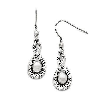 Stainless Steel Shepherd hook Polished Infinity Long Drop Dangle Earrings Jewelry Gifts for Women