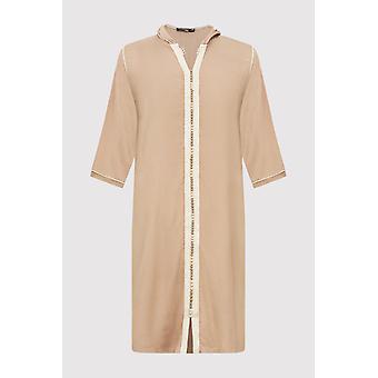 Djellaba jad boy's incappucciato abito a lungo lungo lungo a manica thobe in beige (2-12 anni)