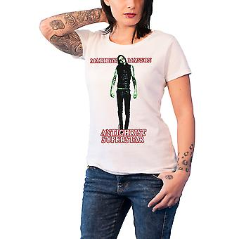 Marilyn Manson T Shirt Antichrist Superstar Official Womens New White Skinny Fit
