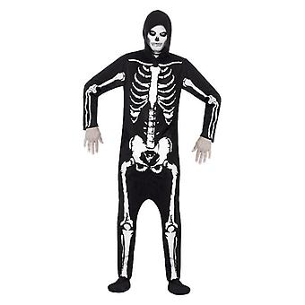 Mens Halloween Skeleton Hooded All In One Fancy Dress Costume