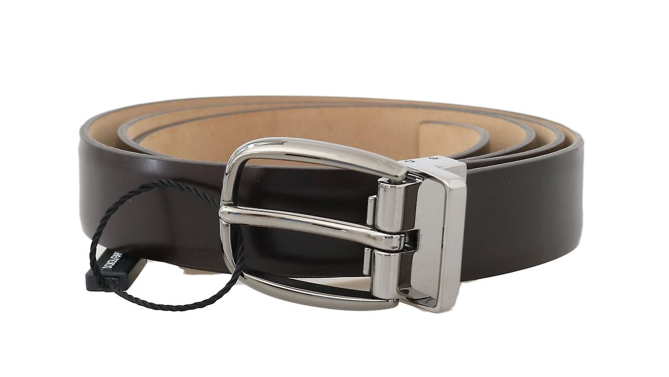 Brown Plain Leather Silver Buckle 2.5 cm Belt