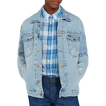 Wrangler Mens Regular Long Sleeve Casual Cotton Button Denim Jacket Blue Hawaii
