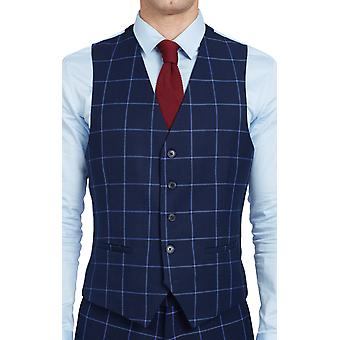 Dobell Mens Navy Waistcoat Regular Fit Blue Windowpane Check