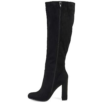 Brinley Co. Womens Knee-high Ruffle Boot Black, 7.5 Extra Wide Calf US