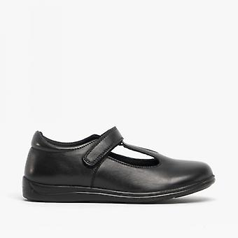Roamers Maggie Girls Leather Touch Fasten T Bar Shoes Black