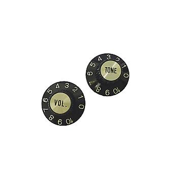 WD Music Witch Hat Style Knob Set (1 Volume And 1 Tone) Black For Metric Pots