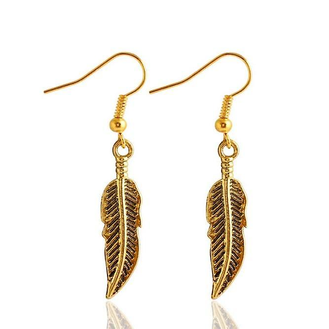 Droplet feather earrings