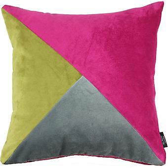 McAlister textilier diagonal lapp täcke sammet rosa, grön + grå dyna