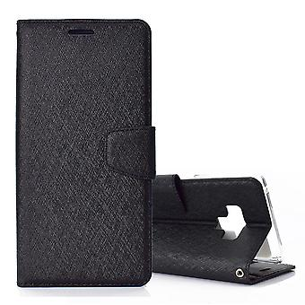Pour Samsung Galaxy Note 9 Leather Wallet Case Black Silk Texture Flip Cover