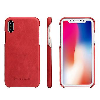 For iPhone XS,X Case,Fierre Shann Elegant Protective Genuine Leather Cover,Red