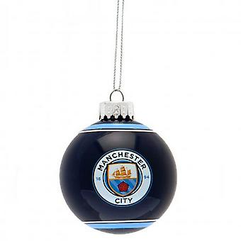 Manchester City FC Christmas Glass Bauble