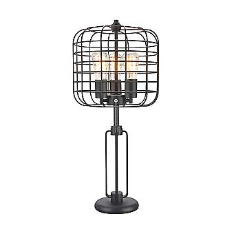 Contemporary Style Caged Shade Table Lamp with Open Design,Black