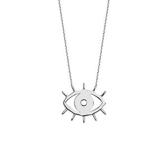 14k White Gold Adjustable Cut Out Evil Eye Necklace 18 Inch Jewelry Gifts for Women - 2.3 Grams