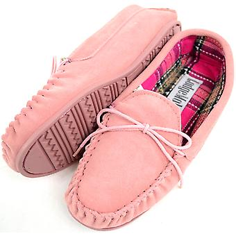 Dames / Womens traditionele echte Suede Leather Moccasin / Slippers met Rubber Sole - Tan - UK 4