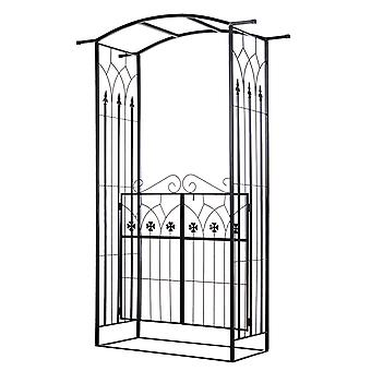 Outsunny Elegant Garden Arch Gateway Entrance Scrolling 2 Doors Trellis Hanging Rail Latches Metal Frame Outdoor Patio Garden Party Wedding BBQ Black