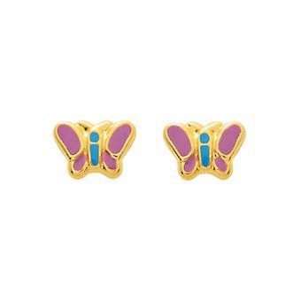 Ohrringe;Ohren Schmetterling Laquis rosa und blau Gold 750/1000 gelb (18K)