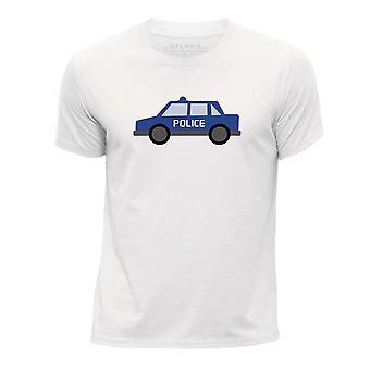 STUFF4 Boy's Round Neck T-Shirt/Police Car/White
