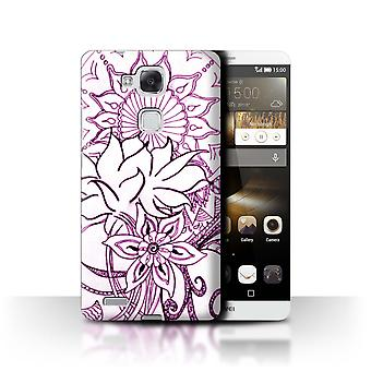 STUFF4 Case/Cover for Huawei Ascend Mate7/White/Purple/Henna Paisley Flower
