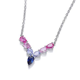 David Deyong Sterling Silver V Shaped Pink & Blue Necklace