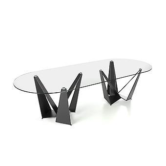 Angel cerdá - ovalen eettafel unity - glas/ staal  - 300 cm