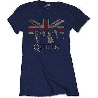 Damen Königin Freddie Mercury Blue Union Jack Offiziellet T-Shirt weiblich