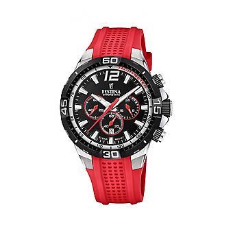 Festina F20523-7 Uomini's Chrono Bike Red Rubber Strap Wristwatch