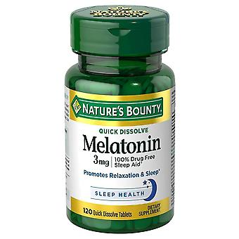 Nature's bounty melatonin, 3 mg, quick dissolve tablets, 120 ea