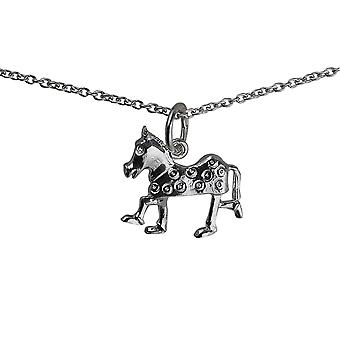 Silver 13x15mm Pantomime Horse Pendant with a rolo Chain 24 inches