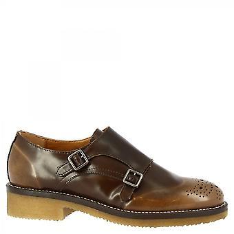 ليوناردو أحذية النساء & أبوس؛s اليدوية مزدوجة الرهبان أحذية البني جلد العجل نحى