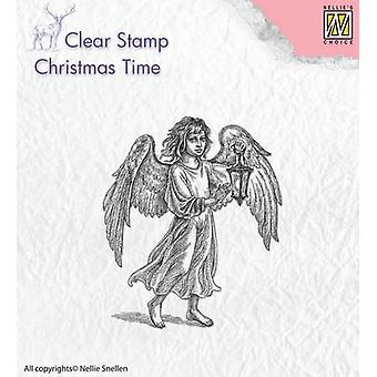Nellie's Choice Clearstamp - Christmas time Angel with lantern