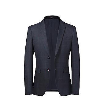 Allthemen Men Men's 2 Button Sport Coat Culoare solidă Slim Fit Suit Jacket Bleumarin