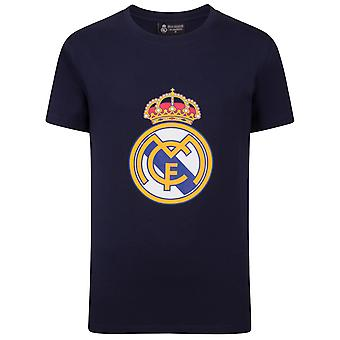 Real Madrid Boys T-Shirt Crest Kids CADEAU DE FOOTBALL OFFICIEL