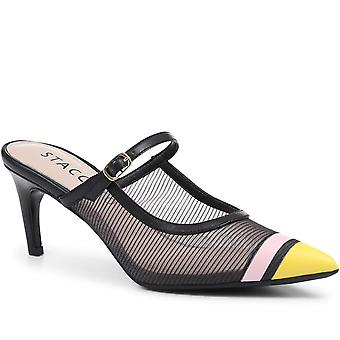 Staccato Pointed Heeled Mary Jane Mule