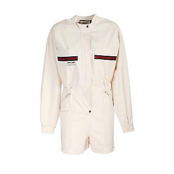 Gucci 610004xjbxq9381 Damen's Weißer Baumwoll-Jumpsuit