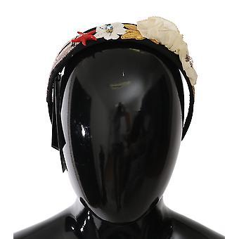 Dolce & Gabbana Black Crystal MARINA Floral Seastar Sequin Headband -- SMYK070448