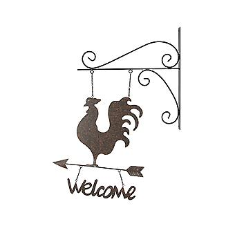 Rustic Country Farmhouse Rooster Wall Mount Hanging Welcome Sign With Bracket