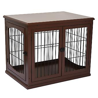 PawHut 66cm Modern Indoor Pet Cage w/ Metal Wire 3 Doors Latches Base Small Animal House Tabletop Crate Decorative Stylish Brown